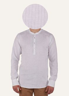 This pinstriped Gheebutter mens shirt is handmade from super fine linen. Watch it become even softer after each wash. Features mother of pearl buttons & nehru collar. Made in India.  If you are between sizes go for the larger of the two.