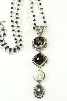 Saucy Cat Button Drop Pendant Necklace by Amy Kahn Russell on nauticalrooster.com