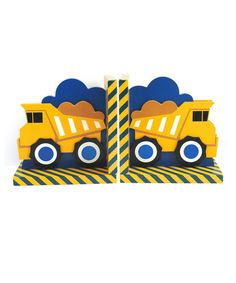 This Yellow Dump Truck Bookends is perfect! #zulilyfinds Construction trucks for little boy's bedroom