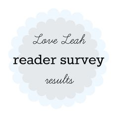 Love Leah reader survey results   Thanks to everyone who took the time to fill in my reader survey! It was very enlightening and you're a lovely bunch. Let's see what you all said than shall we?Question 1.What is your age? 26% of you are 25-34 38% of you are 35-44 and 25% are 45-54. There are a few of you younger than 24 and older than 55. I appreciate all of you! Question 2.In which country do you live? 67% of you are in the UK and the rest are made up of a bunch of countries - primarily…
