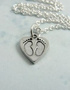 Baby heart Footprint Necklace.