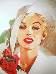Jon Whitcomb illustration of Marilyn Monroe based on a photograph by Carl Perutz, 1958.