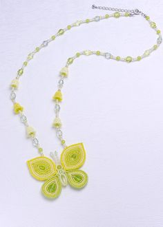 Butterfly and Bell Flower Necklace: Yellow Green