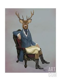 Distinguished Deer Full Art Print by Fab Funky at Art.co.uk