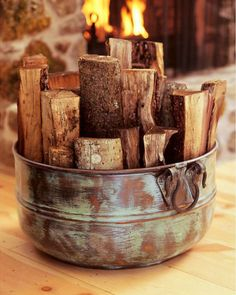 Paxton Firewood Bucket at Pottery Barn Firewood storage for inside fireplace. Maybe the black kettle Rustic Cabin Decor, Country Decor, Rustic Wood, Rustic Cottage, Modern Rustic, Farmhouse Decor, Mountain Cabin Decor, Rustic Cafe, Rustic Restaurant