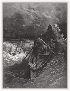 The Pilot faints scene from 'The Rime of the Ancient Mariner' by S. Coleridge by Gustave Dore Gustave Dore, Gravure Illustration, Illustration Art, Fine Art Prints, Framed Prints, Canvas Prints, Arte Obscura, Arte Horror, Wood Engraving