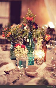 Pink Posh Photography | Houston Texas Barn Wedding | Lazy J Ranch Wedding Decor | Lone Survivor | Rustic Country Wedding Flower Centerpiece | DIY Flowers