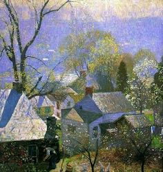 """Springtime in the village"", from American impressionist painter Daniel Garber (1880-1958) pic.twitter.com/M4OdH8m7ef"