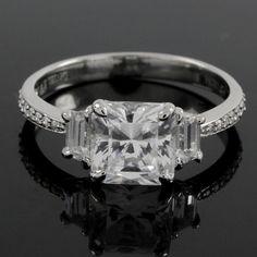 2.73 carat VVS1 Princess & Baguette Cut Diamond 3-Stone Ring 149R #Affinityjewelry #3Stone