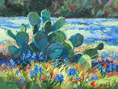 Blues among the Cactus by Mary Shepard Acrylic ~ x