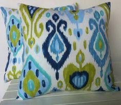 Hey, I found this really awesome Etsy listing at http://www.etsy.com/listing/151832504/two-ikat-blue-green-patterned-pillow