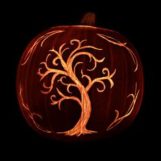Tree carved on a pumpkin. Repinned from Vital Outburst clothing vitaloutburst.com