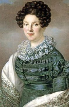 Avdotya Istomina 1820. This lady wears a grey silk dress with piping, oversleeves, and undersleeves.