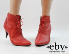 Vintage 80s Red Leather Ankle Boots size 10 Red Ankle by shopEBV, $62.00