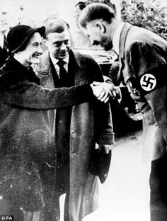 The Duchess of Windsor, Wallis Simpson makes warm introductions with Führer Adolf Hitler at his Berghof estate while on a state visit to the German Reich with her husband and former King of Britain (until he abdicated the throne in 1936) Edward VIII. October, 1937.