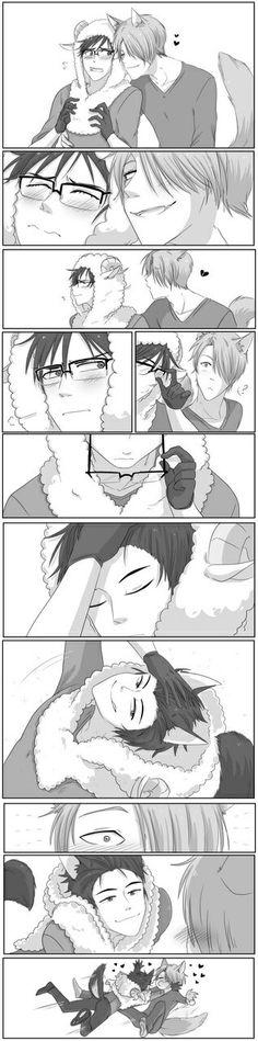 Oh yuri! << wolf in sheeps clothing. pretty acurate for Yuri actually Victor Y Yuri, Yuri On Ice Comic, Katsuki Yuri, ユーリ!!! On Ice, Image Manga, Cute Comics, Cute Gay, Anime Ships, Fujoshi