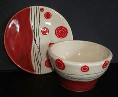 pottery painting ideas This set comprises of a small plate and bowl made from white earthenware clay and decorated with a red and black abstract pattern. The plate is saucer size Earthenware Clay, Ceramic Clay, Ceramic Painting, Ceramic Plates, Sgraffito, Pottery Bowls, Ceramic Pottery, Pottery Art, Painted Pottery