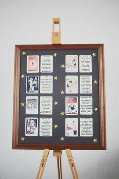 A Classic Hollywood Movie Inspired Table Plan. Photography by www.hannahmillardphotography.com