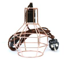 Eddie & Sons Rose Copper GeometricCage Lamp with dimmer, plug and 3m brown cord