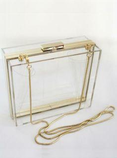 New Perspex clutch handbag transparent acrylic clear purse bag/Multi-Color Minimalist Chic, Minimalist Jewelry, Minimalist Fashion, Transparent Clutch, Clear Bags, Box Bag, Diy Fashion, Purses And Bags, Michael Kors