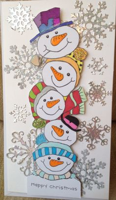 Woodware snowman stamp, like the colouring in on these cute snowman