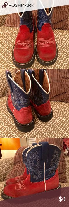 FAT BABY RED SUEDE BOOTS Gently used red suede boots with blue leather tops. These boots are in great condition with lots of life left. The crepe soles are very comfortable. Ariat Shoes Ankle Boots & Booties