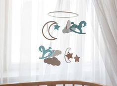 Rocking horse baby mobile Moon and star baby by CuteBabyMobile