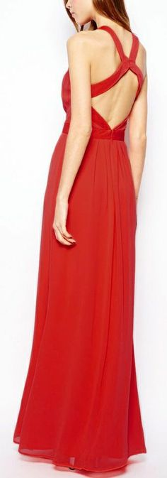 Red Spaghetti Strap Backless Pleated Dress