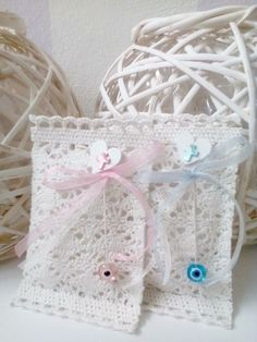 Crochet Baptism Favors -Martyrika - Baptism favors Girl -Baptism Favors Boy by LuckyLuvEventsCo on Etsy Baptism Boy Favors, Girl Baptism, Organza Ribbon, First Communion, Favor Bags, Crochet Lace, Christening, Special Day, Holi