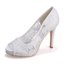 a87e6cbfe39645 Clearbridal Women s Lace Wedding Bridal Shoes Open Peep Toe High Heel  Evening Porm Sandals ZXF6041-01  Amazon.co.uk  Shoes   Bags