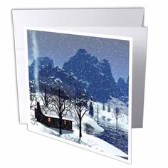 Log Cabin in Snow Scene, Greeting Cards, 6 x 6 inches, set of 12 Log Cabin Furniture, Snow Scenes, Blank Cards, White Envelopes, 6 Inches, Card Stock, Greeting Cards, Tapestry, Writing