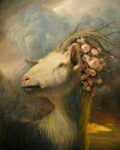 Martin Witfooth Capricorn Girl, Capricorn Rising, Devil, Goat Art, Martin Wittfooth, Sheep, Animal Paintings, Flower Paintings, Large Animals