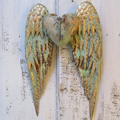 Metal Angel Wings Wall Decor angel wings wall decor with heart shabby chic rusty metal cottage
