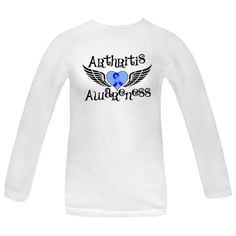 Arthritis Awareness Women's Long Sleeve T-Shirts featuring fighter wings and an awareness ribbon over the heart tattoo-style design for advocacy  #Arthritis #ArthritisShirts #ArthritisAwareness