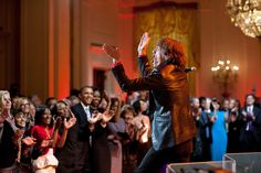 """Mick Jagger performs """"I Can't Turn You Loose"""" during the """"In Performance at the White House: Red, White and Blues"""" concert in the East Room of the White House, Feb. 21, 2012. (Official White House Photo by Pete Souza)"""
