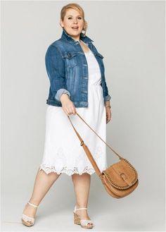 a large dress - Summer Outfits Mature Women Fashion, Chubby Fashion, Plus Size Chic, Looks Plus Size, Maite Kelly Mode, Plus Size Dresses, Plus Size Outfits, Apple Shape Fashion, Dresses For Apple Shape
