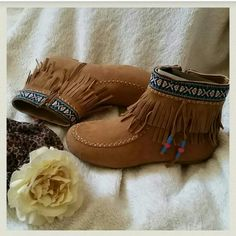 $35 Sale-  MICAH Tribal Fringe Moccasin Booties Fringe suede upper moccasin booties that features a double layer fringe cuff with a tribal patterned embroidered trim and a beaded tassel. Also have a zip closure. NWOB. Use offer feature Shoes Ankle Boots & Booties