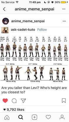 I'm taller than Levi and shorter than Armin