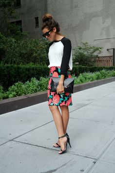 sequin skirt, greylin, alexa skirt, tropical, nyfw ss15, new york fashion week, street style, sazan, barzani, blogger, fashion blogger, affordable finds, baseball tee, blue fly, rebecca taylor, what to wear nyfw, what to wear, everyday outfit, black strappy heels