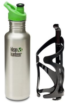Klean Kanteen 27 oz Brushed Stainless Steel Water Bottle with Sport Cap 3.0 in Green and Bike Cage >>> See this great product by click affiliate link Amazon.com