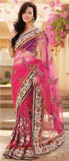 Rani #Pink Net #Saree With Blouse @ $330.82 | Shop @ http://www.utsavfashion.com/store/sarees-large.aspx?icode=skk14018