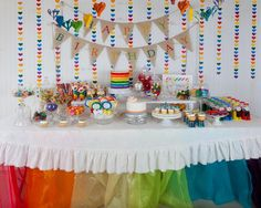 Hostess with the Mostess® - Hannah's Rainbow Party (WHITE TABLECLOTH AS BACKDROP) brings out the colors of individual items