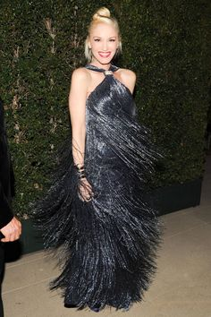 """Gwen Stefani """"Why have regrets? Everything that's going to happen to you is… - Bademode Gwen And Blake, Gwen Stefani And Blake, Gwen Stefani Style, Embellished Gown, Glamour, Nicole Richie, Fringe Dress, Rosie Huntington Whiteley, Red Carpet Dresses"""
