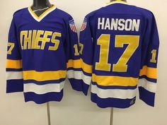 Men s The Movie Mad Hanson Brothers Charlestown Chiefs  17 Steve Hanson  stitched away slap shot · Nhl Hockey ... 004c53492