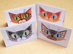Four Cats folded gift tags pack of 4 peel-off tags by Ellareki