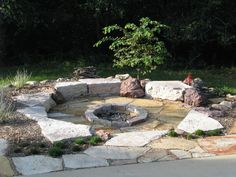 Apartment, Rock Design Fire Pit Exterior Inspiration Outdoor Classic Circled Fire Pit Seating Rounded Fire Pit Ideas On Pavered Backyard As Inspiring Small Patio Ideas On Outdoor: Performing the Fire Pit Design Ideas in More Dinner and Party 2017 Garden Fire Pit, Diy Fire Pit, Fire Pit Backyard, Backyard Patio, Rustic Backyard, Fire Pit Off Patio, Sunken Patio, Fire Pit Area, Fire Pit Seating