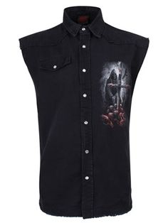 Are you in search for a soul? So is this undead creature that spends his time lurking in the darkness. Whether you are a fan of gothic art or you simply love alternative clothing, you are guaranteed to find a place for this creepy sleeveless workshirt in your wardrobe!
