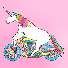 Unicorns: Unicorn on a Motorcycle | #unicorns #unicorn