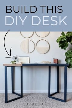 Looking for a modern desk to add to your home office or homeschooling set up? Build this DIY desk this weekend using this step-by-step tutorial. Free cut list provided! Go for a solid finish or add a two-tone effect for a unique desk. #diydesk #deskplans #officediy