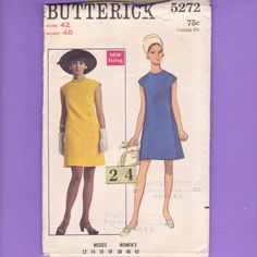 1960's Mod Side Button Flared Dress/ Butterick 5272 Womens Easy High Neckline button up sleeveless office dress Sewing Pattern/ Plus Size 24